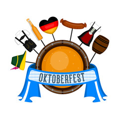 Oktoberfest label with traditional objects