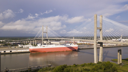 The Talmedge Memorial Bridge Crosses The Savannah River