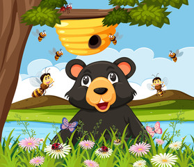 A bear looking at beehive