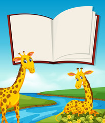 Giraffe next to river and blank bok template