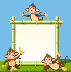 Monkey on the bamboo board