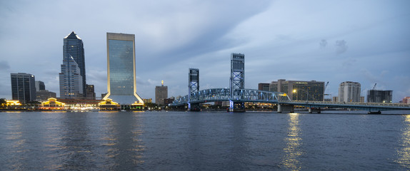 Night Falls on the Jacksonville Florida Downtown City Skyline