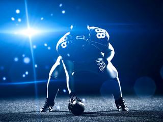American football player starting football game