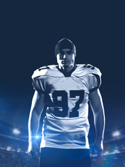 portrait of young confident American football player