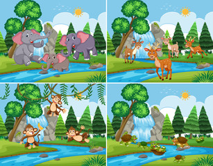 A set of nature scene with animals