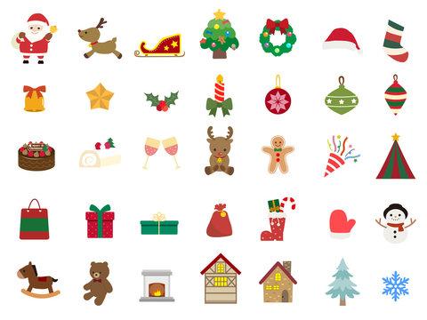 かわいいクリスマスのアイコン素材