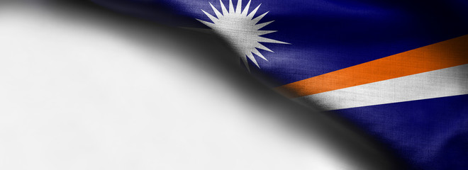Marshall Islands flag on white background - right top corner