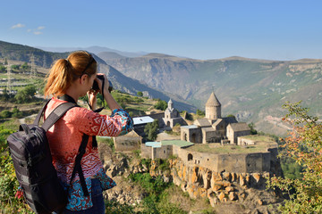 Armenia, Tatev monastery is a 9th century historical monument. It is one of the oldest and most famous monastery complexes in Armenia, Goris city.
