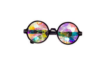 Designer glasses with kaleidoscope lenses on a white isolated background