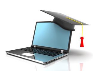 graduation cap on laptop - e-learning 3d concept