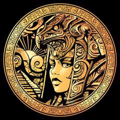 An Egyptian woman in a helmet of the deity