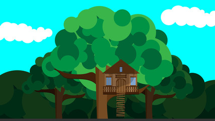 Illustration House on a tree