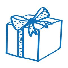 Handgezeichnetes Geschenk mit Punkteband in dunkelblau