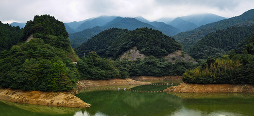 artificial lake and mountains landscape, Japan