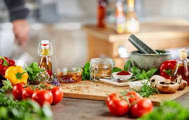 Fresh herbs, spices and salad ingredients