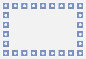 Marco de cuadrados azules con punto blanco.
