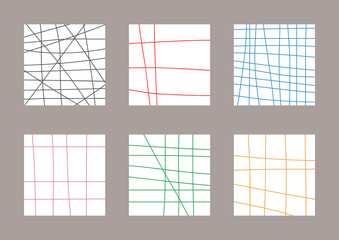 Set of simple square checkered templates drawn by hand. Sketch, doodle, scribble. White, black, red, blue, purple, green, orange.