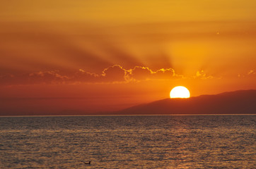 sunset on the Issyk-Kul lake
