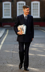 Pro-Brexit Conservative Party MP William Rees-Mogg leaves his home in Westminster central London