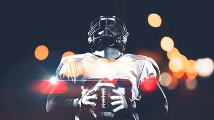 portrait of confident American football player