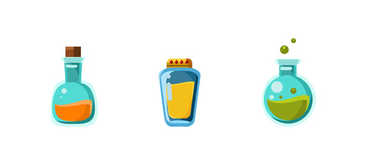 Small glass bottles of poison, game assets collection for computer or mobile games user interface vector Illustration