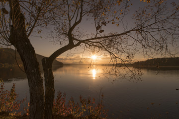 Beautiful sunset at lake