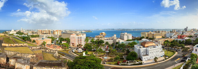 Wall Murals Caribbean Beautiful panoramic view of the cityscape of San Juan, Puerto Rico, seen from San Cristobal