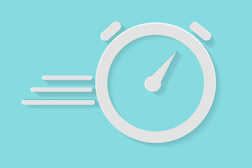 Illustration for Duration or Deadline / Dateline or Fast Processing, Icon of Stop Watch, paper cut style