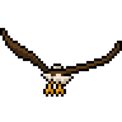 vector pixel art eagle fly back