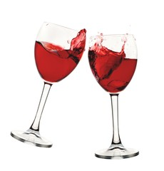 Set of two wine glasses with red or rose wine
