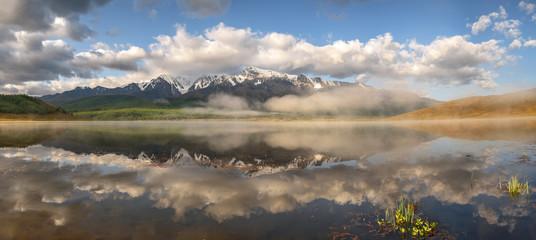 lake fog mountains reflection dawn pangrama