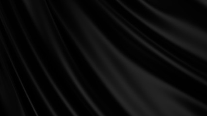 Black luxury cloth abstract background. Dark liquid wave or black wavy folds silk or satin background. Elegant wallpaper