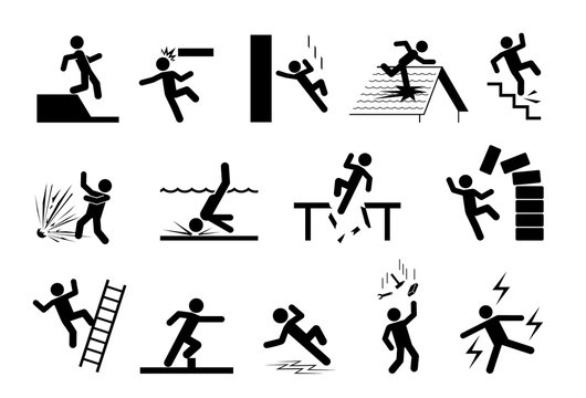 Slippery icons. Set of safety signs. Caution signs. Collection of warning signs. Signs of danger. Signs of alerts.