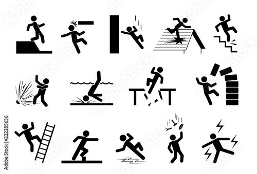 Slippery icons  Set of safety signs  Caution signs