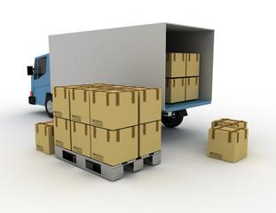 Delivery truck concept . 3d rendered illustration