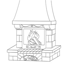 Object coloring raster. A brick fireplace burns a tree. Works and heats.