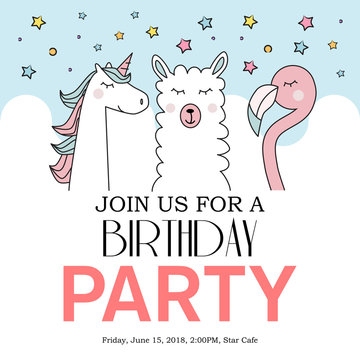 happy birthday card with cute unicorn, llama and flamingo