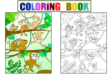 Family of monkeys on a tree color book for children cartoon raster. Coloring, black and white