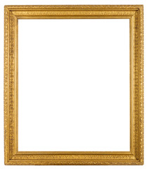 Vintage ornate gold gilt frame isolated on white background