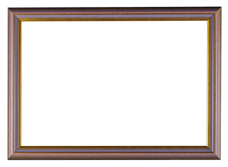 Thin wooden picture frame isolated on white background.