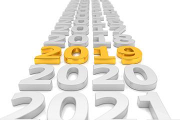 Zeitstrahl - Silvester, Sylvester, Neujahr 2019 in Gold