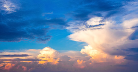 Multicolored clouds in the evening sky. Panorama_