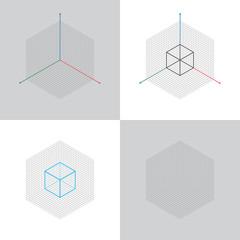 Fototapeta isometric view, 3d coordinates axis