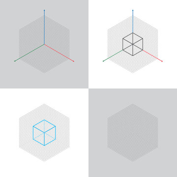 isometric view, 3d coordinates axis