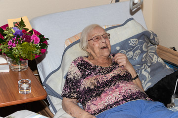 Alte Frau hat zum Geburtstag Besuch mit Hund im Seniorenheim oder Altenheim