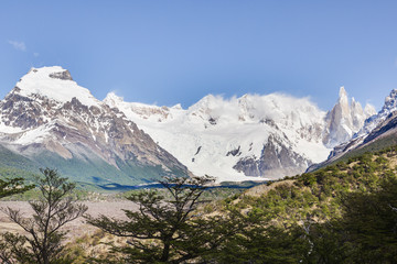 Panoramic picture of Cerro Torre taken from El Chalten hiking trail
