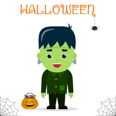 Cute child dressed in a Frankenstein costume, pumpkin with candies, celebrating at a Halloween party, isolated on a white background.