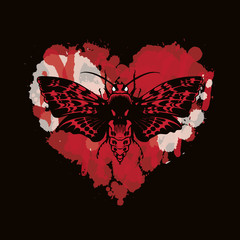Tuinposter Aquarel schedel Vector graphic illustration of a butterfly Dead head with a skull-shaped pattern on the thorax. Black moth on abstract red heart. T-shirt design template