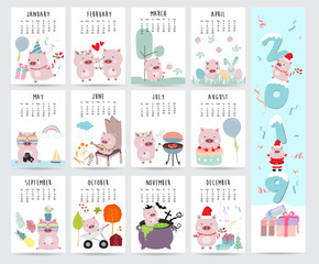 Cute monthly calendar 2019 with pig,cake,barbecue,glasses,heart,balloon,gift for children.Can be used for web,banner,poster,label and printable