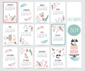 Chic monthly calendar 2019 with feather,bear,skunk,cake,flower and wild in boho and bohemian style